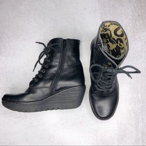 Fly London Ygot Lace Up Platform Wedge Moto Boot